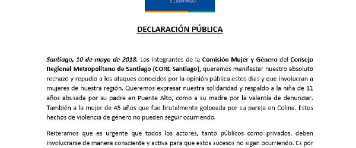 DECLARACIÓN PÚBLICA: Comisión Mujer y Género del CORE Santiago rechaza agresiones sufridas por una niña de 11 años en Puente Alto y una mujer de 45 años en Colina
